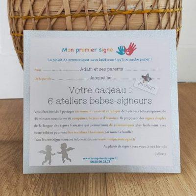 Carte cadeau bébé signe visio